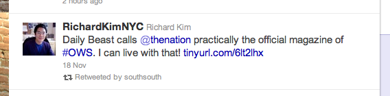 Tweet from Richard Kim copping to The Nation being the magazine of OWS